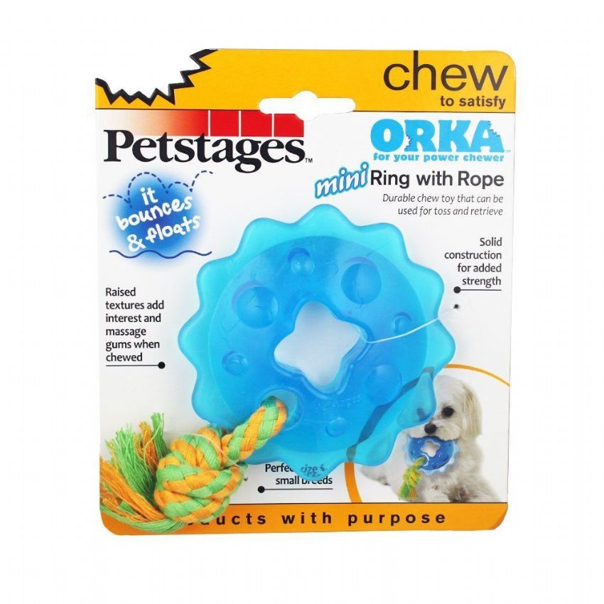 Dog Toy Petstages Mini Orka Ring With Rope Tough Chew Toy Durable Teething Toy (1)